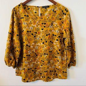 Zara Tops - Zara Basic Yellow Floral Top Size XXL